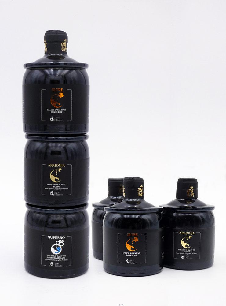 trywine bottiglie di vino impilabili da 250 ml prodotte in salento